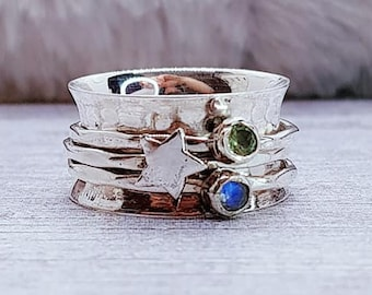 Peridot, Moonstone Star Spinner Ring * Sterling Silver * Boho Ring * Anxiety, Meditation Ring * Worry, Spinning Jewelry * Spin, Fidget Ring