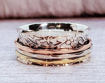 Floral Print Spinner Ring * Sterling Silver * Boho Ring * Anxiety and Meditation Ring * Worry Ring * Spinning Jewelry * Spin, Fidget Ring