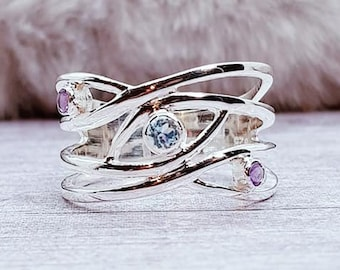 Wavy Blue Topaz and Purple Amethyst Ring * Sterling Silver * Rustic Organic Jewelry * Unique Womens Engagement Ring * Promise Ring