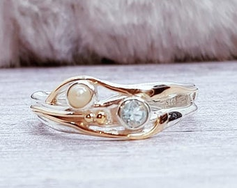 Blue Topaz and White Pearl Ring * Sterling Silver * Rustic Organic Jewelry * Unique Womens Engagement Ring * Promise Ring