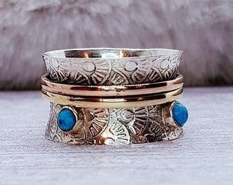 Personalised Turquoise Spinner Ring * Sterling Silver * Boho * Anxiety, Meditation, Worry, Spinning Jewelry * Spin, Fidget