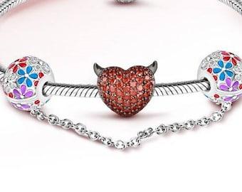 Heart Charm Bead * Sterling Silver * 4.5mm Inner Diameter * Fits most European Charm Bracelets