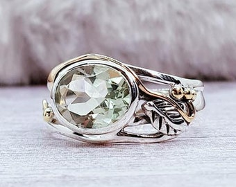 Green Amethyst Leaf Ring * Sterling Silver * Rustic Organic Jewelry * Unique Womens Engagement Ring * Promise Ring