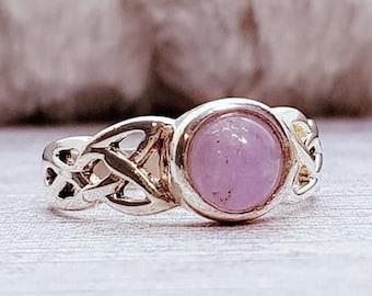 UK K Amethyst Ring * Sterling Silver * Celtic Birthstone Ring * Celtic Knot * Irish Ring * Celtic Knot Jewelry * Birthstone Ring *