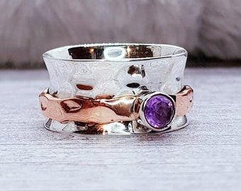 Personalised Purple Amethyst Spinner Ring * Sterling Silver * Boho * Anxiety, Meditation, Worry, Spinning Jewelry * Spin, Fidget