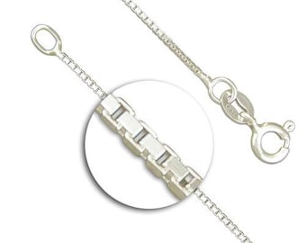 24in Medium Box Chain * Box Necklace Chain * Curb Chain Jewelry * Silver Curb Chain * Sterling Silver * Box Chain Necklace *