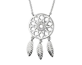 Personalised Dreamcatcher Necklace * Sterling Silver * Feather Pendant * Feather Gift * Boho Jewelry * Silver Dream-catcher * Gift