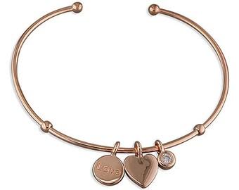 Personalised Rose Gold Heart Bracelet * Sterling Silver * Torc Bracelet * Anniversary Gift * Rose Gold Bracelet * Adjustable Bracelet *