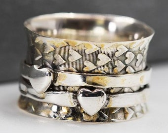 Personalised Heart Print Spinner Ring * Sterling Silver * Boho * Anxiety, Meditation, Worry, Spinning Jewelry * Spin, Fidget