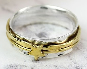 Personalized Sterling Silver Spinner Ring for Women * Slim Band * Custom Thumb Ring * Star Design *
