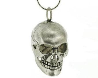 Personalised Human Skull Necklace * Sterling Silver *  Memento Mori * Anatomical Pendant * Human Anatomy Skeleton * Medical Doctor * Curios