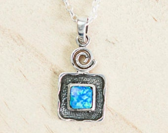Personalised Opal Necklace * Sterling Silver * Square Opal * Opal Necklace * Blue Opal Pendant * Opal Jewelry * Opal Pendant * Boho