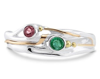 Green Emerald and Pink Tourmaline Ring * Sterling Silver * Rustic Organic Jewelry * Unique Womens Engagement Ring * Promise Ring