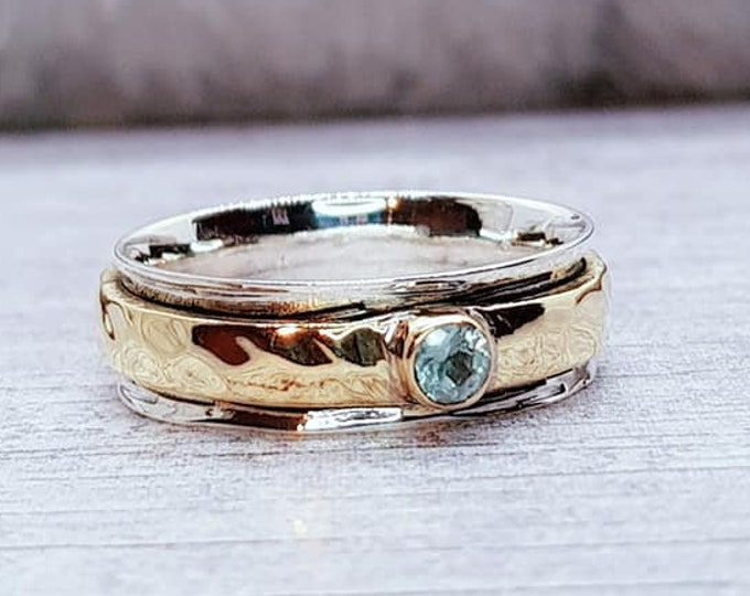 Featured listing image: Topaz Spinner Ring * Sterling Silver * Boho Ring * Anxiety and Meditation Ring * Worry Ring * Spinning Jewelry * Spin Ring * Fidget Ring