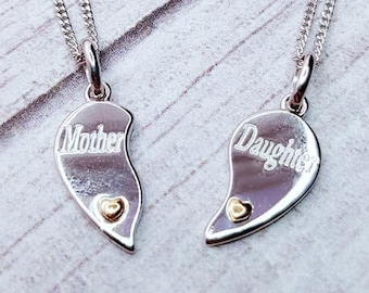 Personalised Heart Necklace Set * Sterling Silver * Mother Daughter * Two Necklace Set * Perfect for Mothers Day