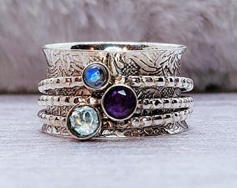 Amethyst, Topaz, Moonstone Spinner Ring * Sterling Silver * Boho Ring * Anxiety, Meditation, Worry Ring * Spinning Jewelry * Spin, Fidget