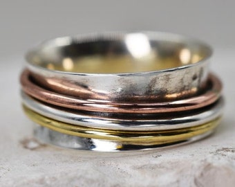 Hammered Spinner Ring * Sterling Silver * Boho Ring * Anxiety and Meditation Ring * Worry Ring * Spinning Jewelry * Spin Ring * Fidget Ring