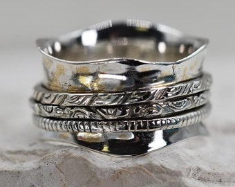 Textured Spinner Ring * Sterling Silver * Boho Ring * Anxiety and Meditation Ring * Worry Ring * Spinning Jewelry * Spin Ring * Fidget Ring