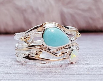 Larimar and White Opalite Ring * Sterling Silver * Rustic Organic Jewelry * Unique Womens Engagement Ring * Promise Ring