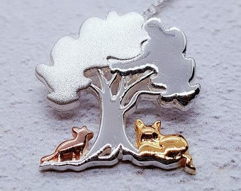 Personalised Foxes Under Tree Necklace * Sterling Silver * Tree Pendant * Tree Jewelry * Botanical Gift * Summer * Flower Girl * Woodland