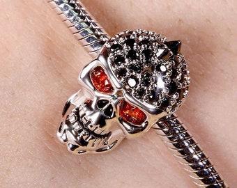 Skull with Mohawk Charm Bead * Sterling Silver * 4.5mm Inner Diameter * Fits most European Charm Bracelets