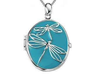 Personalised Dragonfly Locket Necklace * Sterling Silver * Dragonfly Locket * Hair Locket * Picture Locket * Mourning Jewelry * Gift