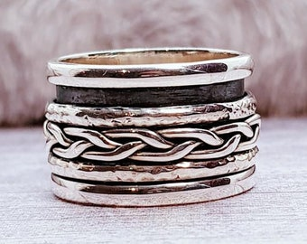 Silver Woven Spinner Ring * Sterling Silver * Boho Ring * Anxiety and Meditation Ring * Worry Ring * Spinning Jewelry * Spin, Fidget Ring