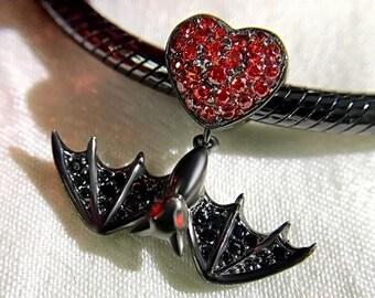 Bat Charm Bead * Sterling Silver * 4.5mm Inner Diameter * Fits most European Charm Bracelets