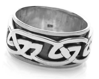 Sterling Silver Spinner Ring for Men * Personalized With Up To 10 Characters * Wide Band * Custom Thumb Ring * Celtic Knot Design *