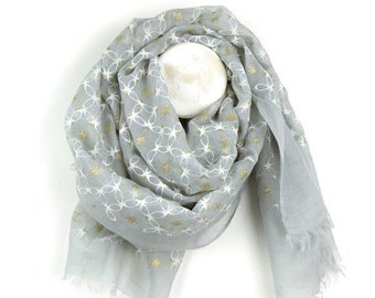 Personalised Grey Scarf with Metallic Gold Stars and White Lattice Print - 70cm x 180cm