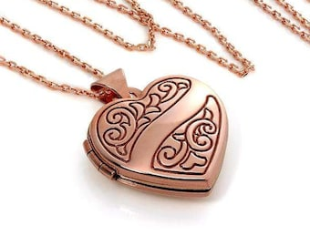 Solid Rose Gold Heart Locket Necklace * Personalized with 10 Engraved Characters * 2 Picture Photos * Memorial Keepsake * Mourning Charm *
