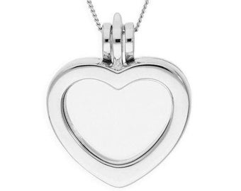 Personalised Floating Charm Locket Necklace * Sterling Silver * Heart Locket * Small