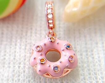 Doughnut Cake Charm Bead * Sterling Silver * 4.5mm Inner Diameter * Fits most European Charm Bracelets * Donut