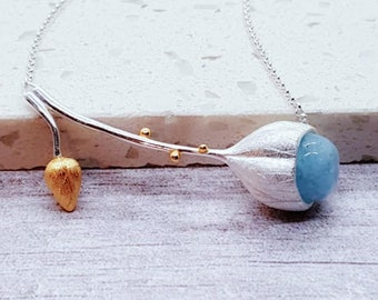 Personalised Aquamarine Lotus Necklace * Sterling Silver * Lotus Bud * Gemstone Jewelry * Silver Lotus Flower * Wedding Jewelry *