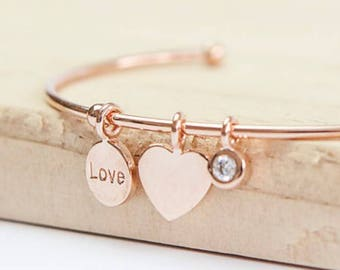 Personalised Rose Gold Heart Bracelet * Sterling Silver * Torc Bracelet * Anniversary Gift * Rose Gold Bracelet * Adjustable Bracelet *