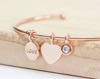 Personalised Heart Bracelet * 18ct Rose Gold Vermeil * Torc Bracelet * Anniversary Gift * Rose Gold Bracelet * Adjustable Bracelet *