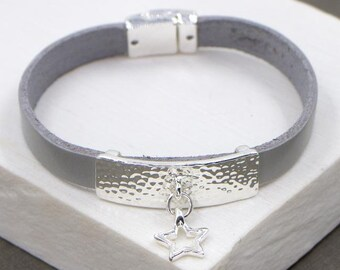 Personalised Grey Leather Bracelet With Silver Star