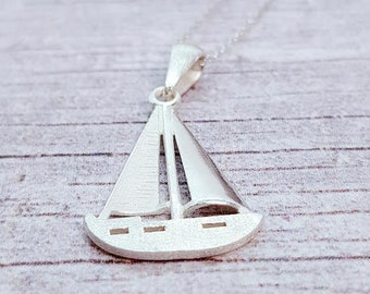 Personalised Sailboat Necklace * Sterling Silver * Sailboat Charm Necklace * Sailing Ship Pendant * Sailing Team * Silver Yacht Necklace *