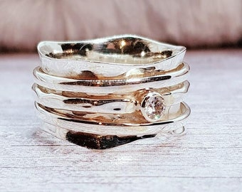 Zirconia Spinner Ring * Sterling Silver * Boho Ring * Anxiety and Meditation Ring * Worry Ring * Spinning Jewelry * Spin Ring * Fidget Ring