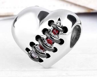 Survivor Heart Charm Bead * Sterling Silver * 4.5mm Inner Diameter * Fits most European Charm Bracelets