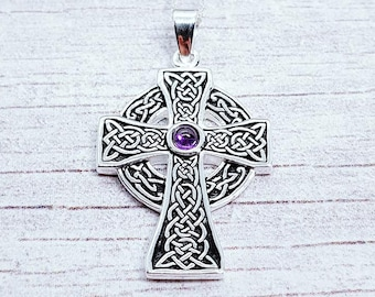 Personalised Amethyst Celtic Cross Necklace * Sterling Silver * Scottish Celtic Cross * Celtic Cross Pendant * Celtic Cross for Men * Gift