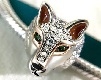Wolf Charm Bead * Sterling Silver * 4.5mm Inner Diameter * Fits most European Charm Bracelets