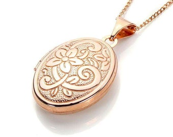 Personalised Engraved Locket Necklace * 9ct Rose Gold * Oval Locket * Hair Locket * Picture Locket * Mourning Jewelry *