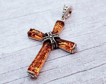 Personalised Amber Cross Necklace * Sterling Silver * Amber Jewelry * Silver Cross * Amber Pendant * Amber Cross * Strapped Cross