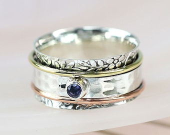 Personalized Sterling Silver Spinner Ring for Women * Wide Band * Custom Thumb Ring *Iolite, Copper and Brass