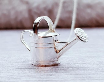 Personalised Watering Can Necklace * Sterling Silver * Gardening Pendant * Outdoor Lover Gift * Watering Can * Botanical * Garden * Plant