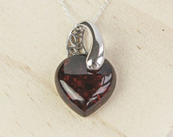 Beatrice * Amber Heart Necklace * Sterling Silver * Baltic Amber * Love Pendant * Anniversary Gift * Best Friends * Girlfriend Jewelry *