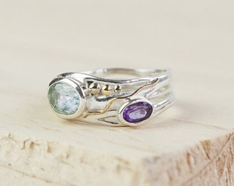 Blue Topaz and Purple Amethyst Ring * Sterling Silver * Rustic Organic Jewelry * Unique Womens Engagement Ring * Promise Ring