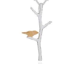 Personalised Birds on the Branch * Sterling Silver * Bird Pendant * Bird Jewelry * Bird Gift * Bird Necklace * Woodland Bird * Gilded Bird