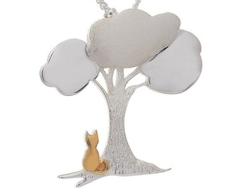 Personalised Cat Under Tree Necklace * Sterling Silver * Tree Pendant * Tree Jewelry * Botanical Gift * Summer * Flower Girl * Woodland